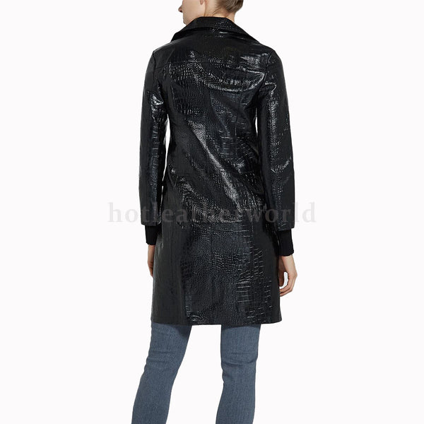 Croc-Embossed Leather Coat For Women -  HOTLEATHERWORLD