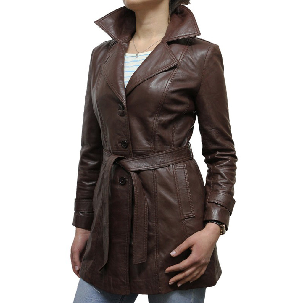 Belted Waist Women Leather Coat -  HOTLEATHERWORLD