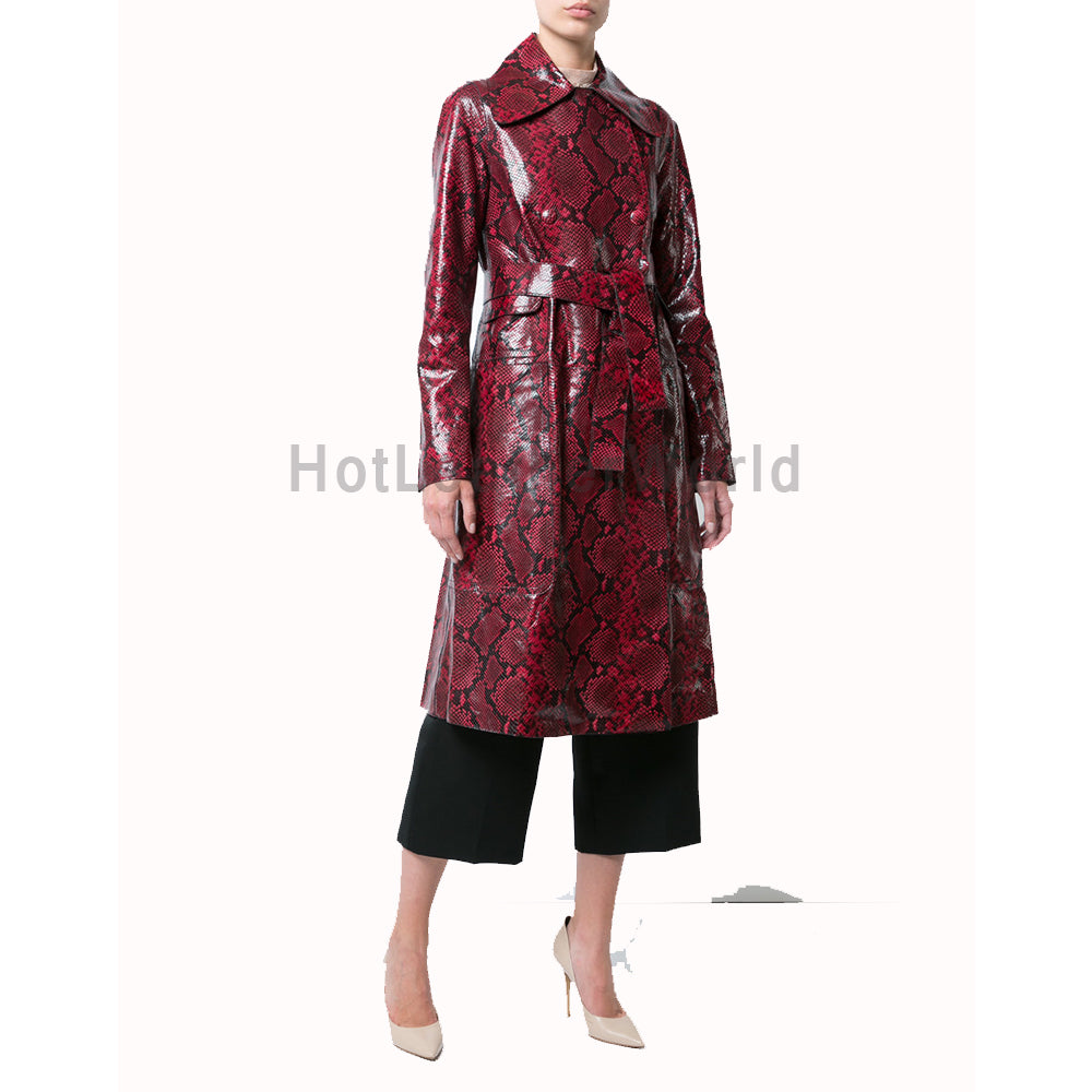 Elegant Looking Snakeskin Print Women Leather Coat -  HOTLEATHERWORLD