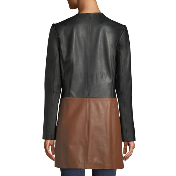 Amazingly Design Paneled Women Leather Coat -  HOTLEATHERWORLD
