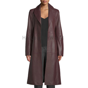 Knotted Belt Stylish Women Leather Trench Coat -  HOTLEATHERWORLD
