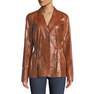 Drawstring Designer Style Women Leather Jacket -  HOTLEATHERWORLD
