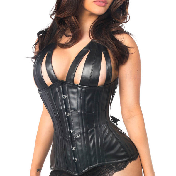 Steel Boned Underbust Faux Leather Corset -  HOTLEATHERWORLD