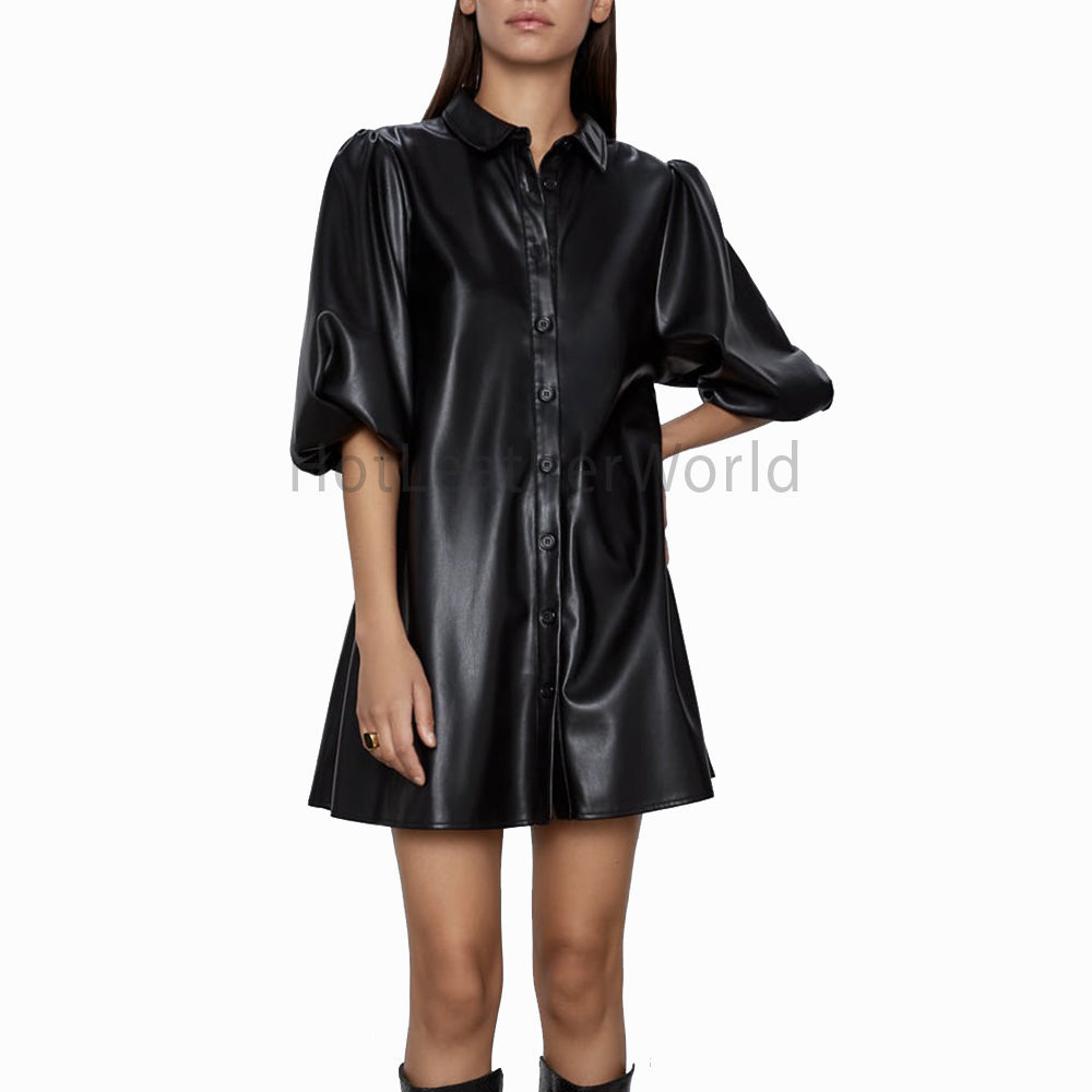 A-Line Collared Mini Leather Dress -  HOTLEATHERWORLD