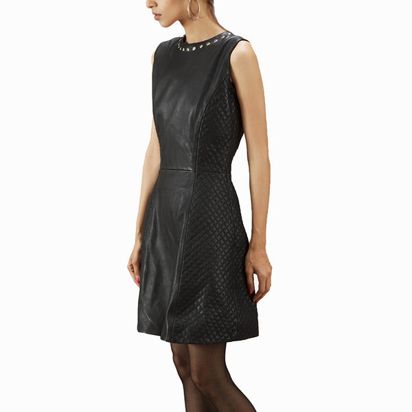 Partial Quilted Elegant Women Leather Dress -  HOTLEATHERWORLD