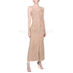 Awesomely Design Long Women Suede Leather Dress -  HOTLEATHERWORLD