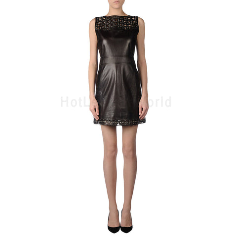 Lace Detailed Mini Women Leather Dress -  HOTLEATHERWORLD
