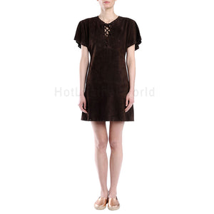 Lace Detailed Mini Women Suede Leather Dress -  HOTLEATHERWORLD