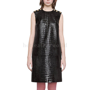 Crocodile Embossed Leather Dress For Women
