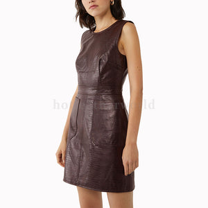 Scoop Neckline Women Crocodile Embossed Leather Dress