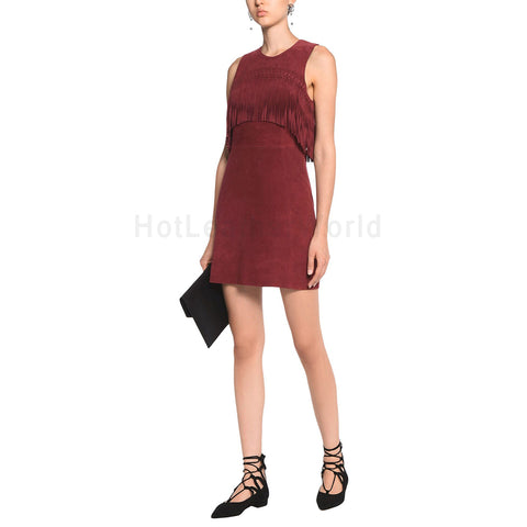 Amazing Fringe Detailed Women Mini Suede Leather Dress -  HOTLEATHERWORLD