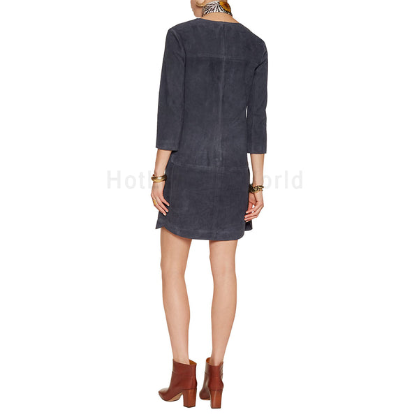 Stylish Women Suede Leather Tunic Dress -  HOTLEATHERWORLD