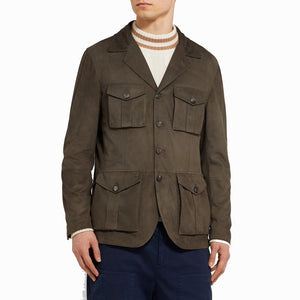 Button Fastening Men Notch Collar Suede Leather Jacket -  HOTLEATHERWORLD