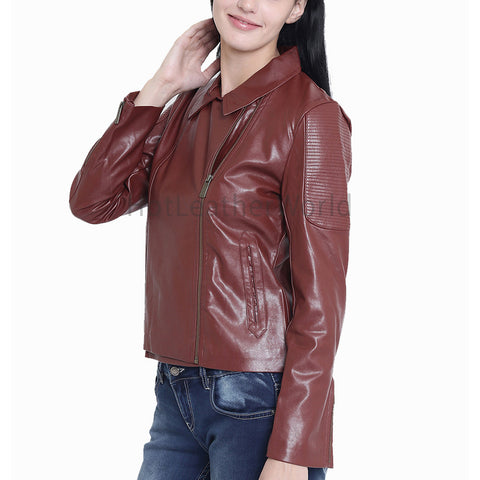 Spread Collar Brown Leather Jacket
