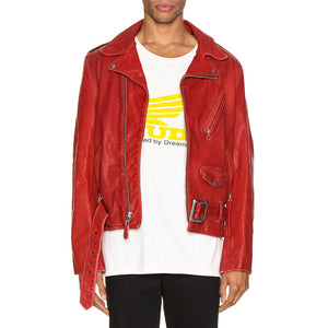 Red Leather Biker Jacket For Men