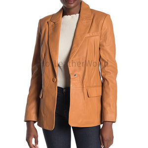 Day Time Single Buttoned Women Leather Blazer