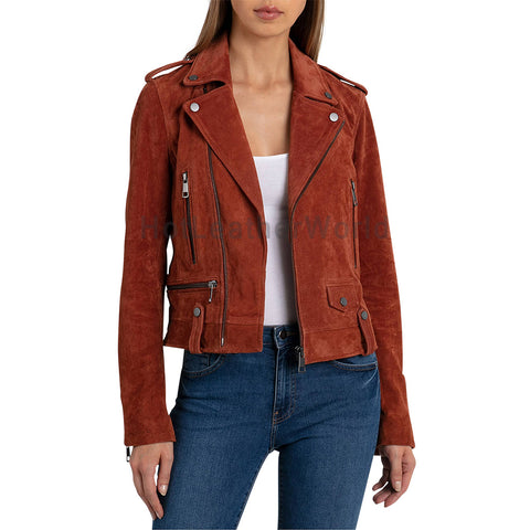 Detailed Trendy Women Motorcycle Suede Leather Jacket -  HOTLEATHERWORLD