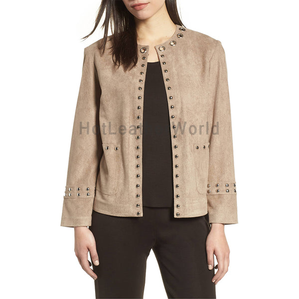 Studded Detailed Women Suede Leather Jacket -  HOTLEATHERWORLD
