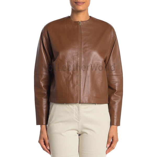 Round Neckline Women Leather Jacket -  HOTLEATHERWORLD