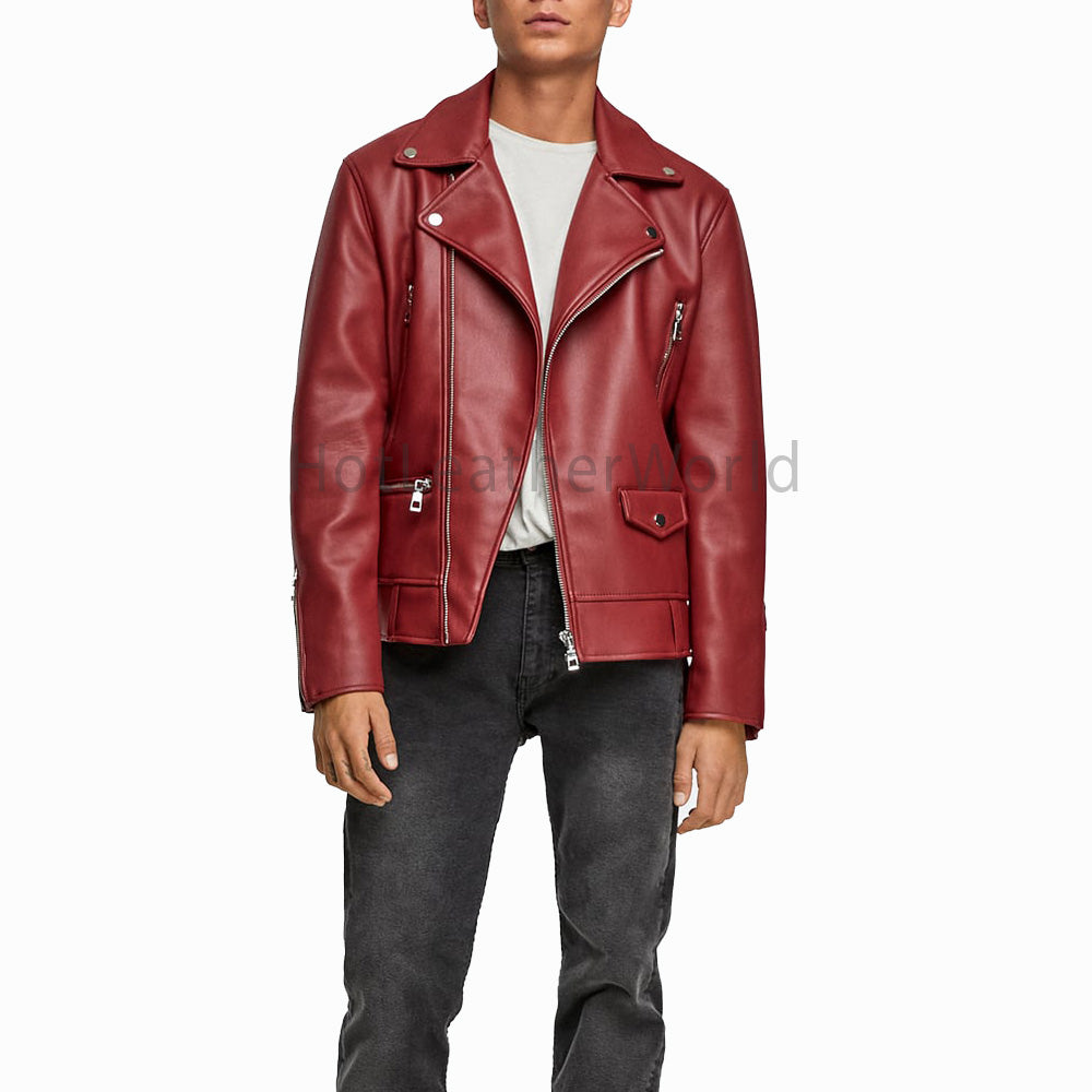 Men Designer Style Leather Biker Jacket -  HOTLEATHERWORLD