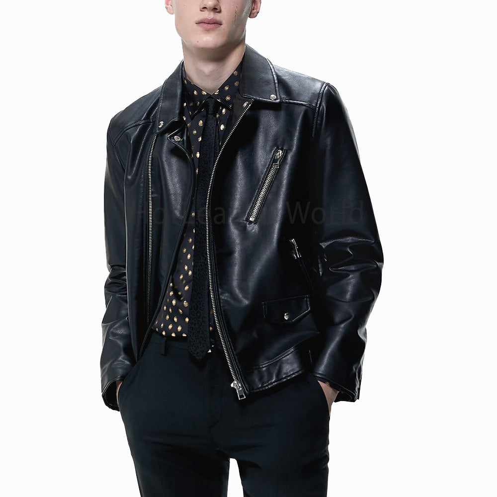 Notched Lapel Collar Black Leather Biker Jacket