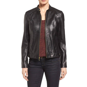 Classic Women Leather Biker Jacket -  HOTLEATHERWORLD