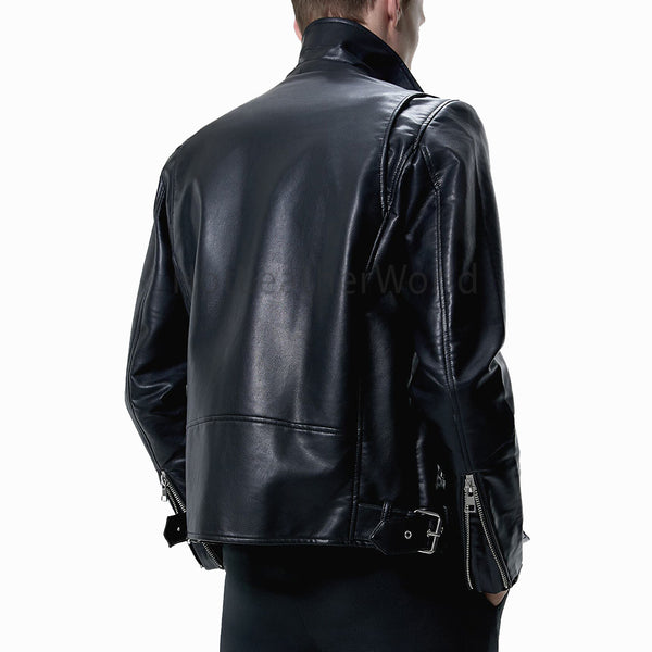 Notched Lapel Collar Black Leather Biker Jacket -  HOTLEATHERWORLD