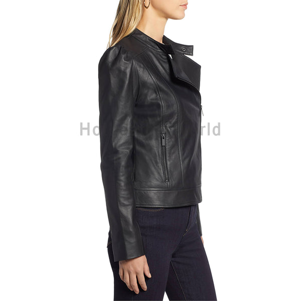 Puff Sleeves Women Biker Leather Jacket -  HOTLEATHERWORLD