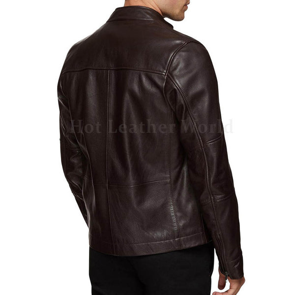 Tab Collar Men Genuine Leather Jacket -  HOTLEATHERWORLD