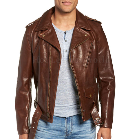 Asymmetrical Zip Closure Men Leather Moto Jacket -  HOTLEATHERWORLD