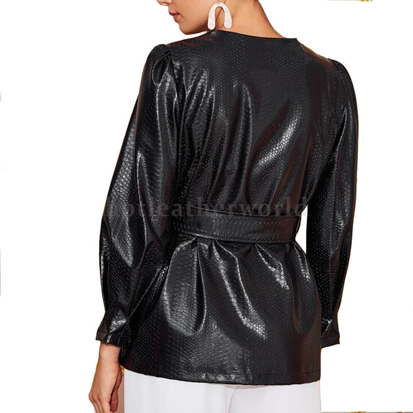 Crocodile Leather Belted Coat For Women -  HOTLEATHERWORLD
