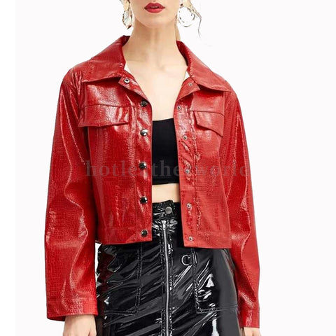 Crocodile Embossed Print  Leather Jacket -  HOTLEATHERWORLD