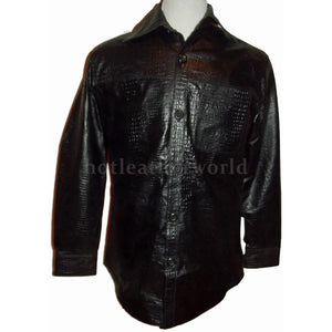 Crocodile Embossed Men Leather Shirt Jacket -  HOTLEATHERWORLD
