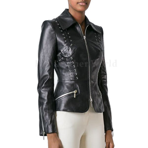 Lace Detailed Women Biker Leather Jacket