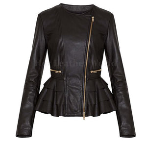 Layered Peplum Casual Women Leather Jacket