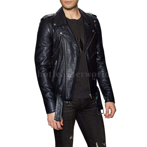 Men Crocodile Embossed Leather Biker Jacket -  HOTLEATHERWORLD