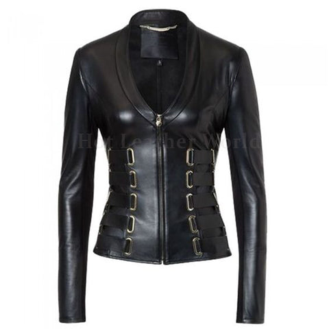 Belted Details Women Leather Biker Jacket