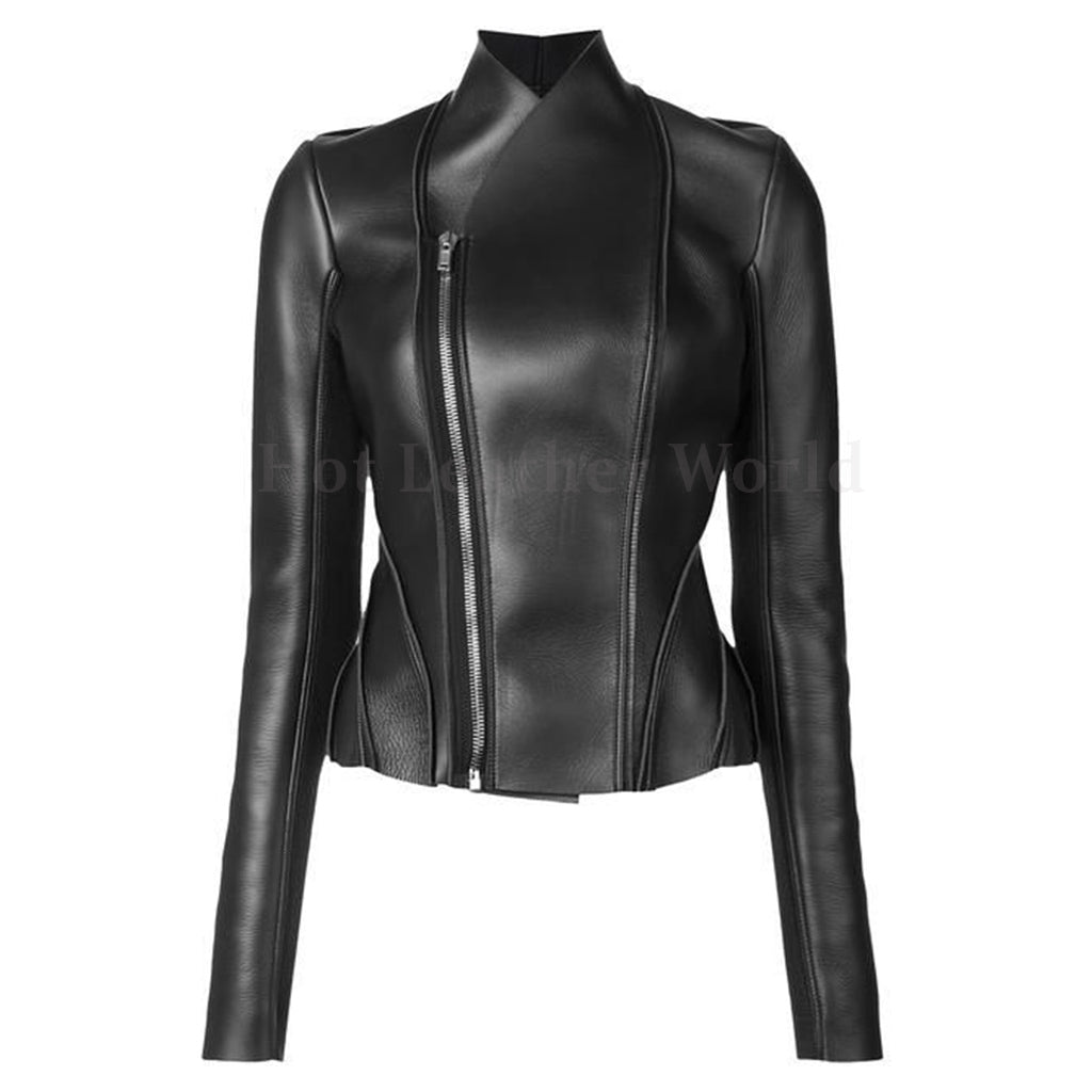 Asymmetric Zipper Fastening Women Leather Jacket