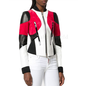 Color Block Paneled Women Leather Biker Jacket