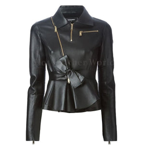 Bow Detailed Belted Waist Peplum Women Leather Jacket
