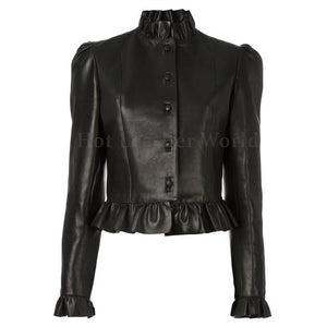 Ruffled Hem and Neck Women Leather Jacket