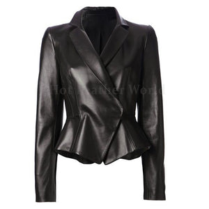 Paneled Classic Peplum Women Leather Jacket