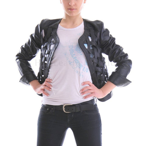 Criss Cross Stripped Women Leather Jacket