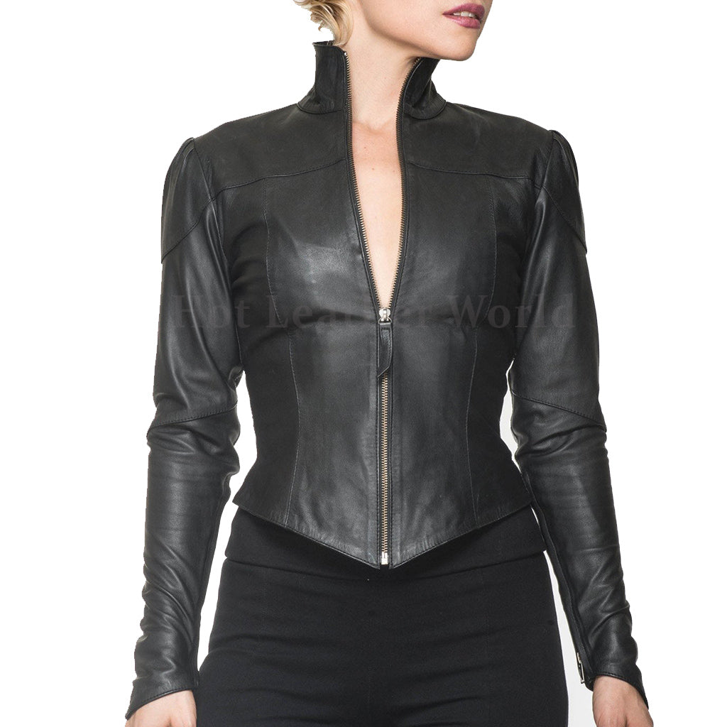 Punk Styled Women Leather Jacket