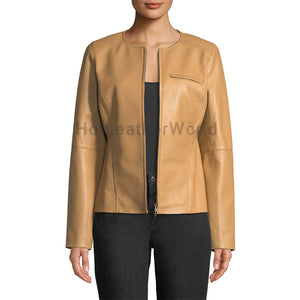 Classic Elegant Women Leather Jacket -  HOTLEATHERWORLD