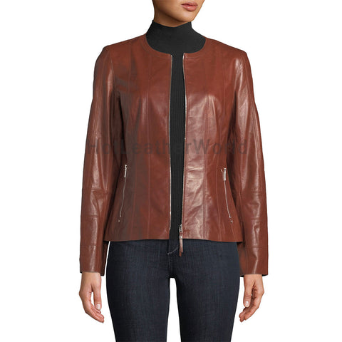 Beautifully Design Women Leather Jacket -  HOTLEATHERWORLD