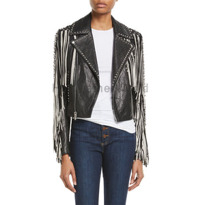 Fringed Studded Women Motorcycle Leather Jacket -  HOTLEATHERWORLD