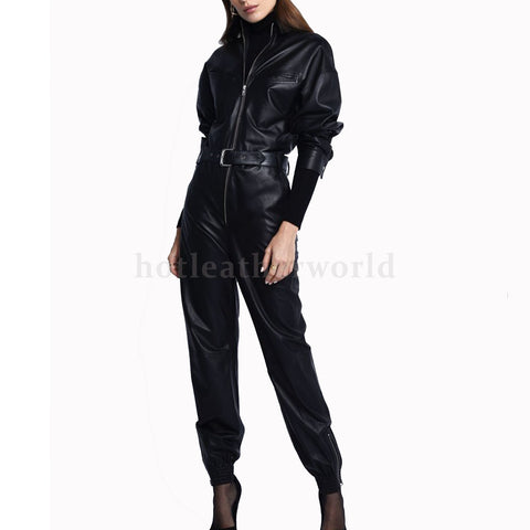 Exotic Style Women Leather Jumpsuit -  HOTLEATHERWORLD