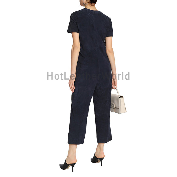 Round Neckline Front Closures Suede Leather Jumpsuit -  HOTLEATHERWORLD