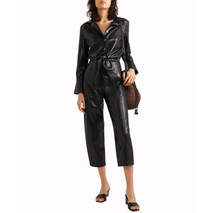 Cut-out waist Detailing Women leather Jumpsuit -  HOTLEATHERWORLD